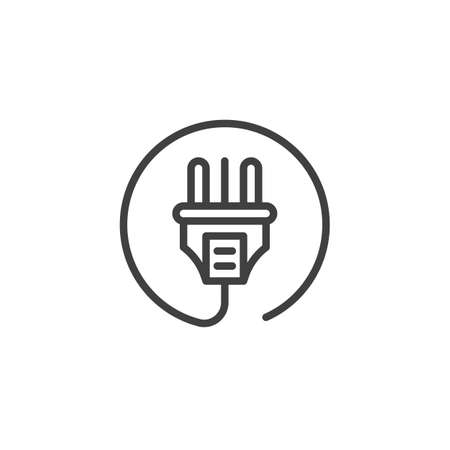 Electric plug with cable line icon. linear style sign for mobile concept and web design. Power Plug outline vector icon. Symbol, logo illustration. Vector graphics Ilustrace