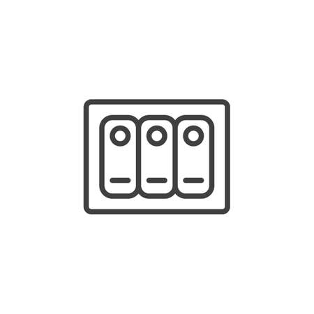 Electric toggle switch line icon. linear style sign for mobile concept and web design. Triple switch outline vector icon. Symbol, logo illustration. Vector graphics