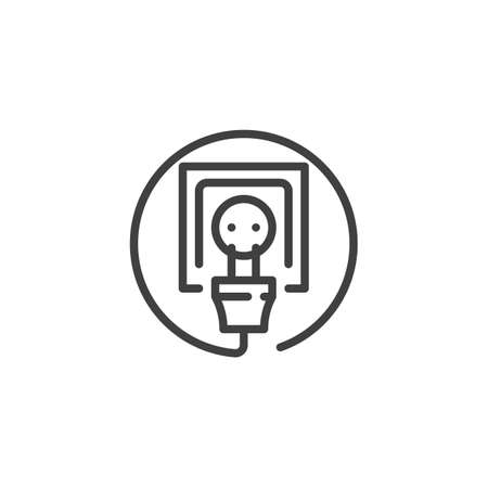 Electric socket and plug line icon. linear style sign for mobile concept and web design. Power outlet and plug outline vector icon. Symbol, logo illustration. Vector graphics