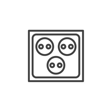 Triple Electrical socket line icon. linear style sign for mobile concept and web design. Three electric outlet outline vector icon. Symbol, logo illustration. Vector graphics