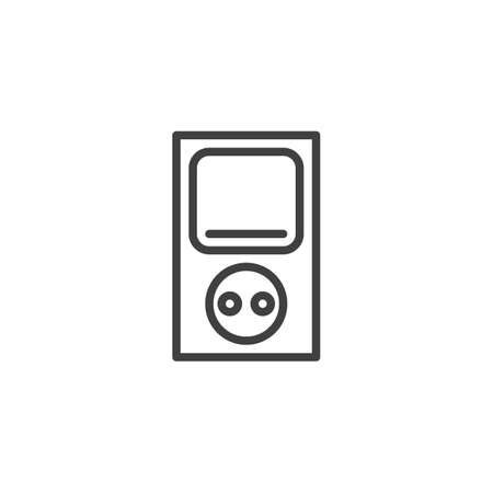 Electrical socket with power switch line icon. linear style sign for mobile concept and web design. Electric outlet and switch outline vector icon. Symbol, logo illustration. Vector graphics