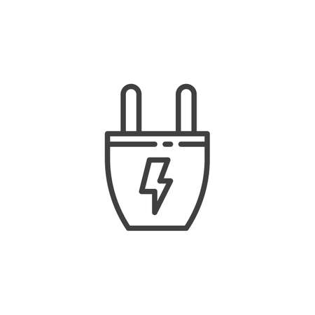 Electric plug line icon. linear style sign for mobile concept and web design. Power Plug energy outline vector icon. Symbol, logo illustration. Vector graphics Ilustrace