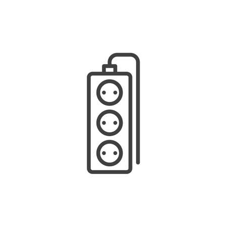 Wired electric extension cord line icon. linear style sign for mobile concept and web design. Tree plug extension cord outline vector icon. Symbol, logo illustration. Vector graphics Ilustrace