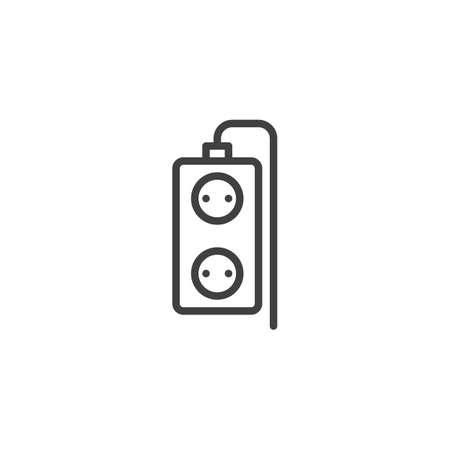 Double plug extension cord line icon. linear style sign for mobile concept and web design. Electric extension cord outline vector icon. Symbol, logo illustration. Vector graphics