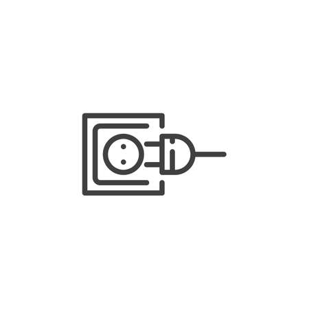 Power outlet and plug line icon. linear style sign for mobile concept and web design. Electric socket and plug outline vector icon. Symbol, logo illustration. Vector graphics