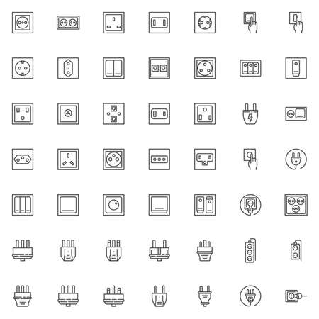 Electric plug and socket line icons set. linear style symbols collection outline signs pack. vector graphics. Set includes icons as power switches type, electrical socket, toggle switch, turn on light