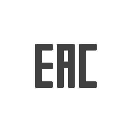 EAC sign vector icon. filled flat sign for mobile concept and web design. EAC mark glyph icon. Symbol, logo illustration. Vector graphics Çizim