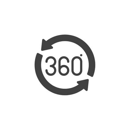 360 rotation sign vector icon. Panoramic view filled flat sign for mobile concept and web design. 360 degrees arrow glyph icon. VR technology symbol, logo illustration. Vector graphics Stock Vector - 133299474