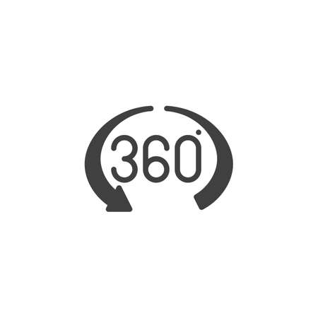 360 Degree View vector icon. Panoramic view filled flat sign for mobile concept and web design.360 rotation arrow glyph icon. VR technology symbol, logo illustration. Vector graphics