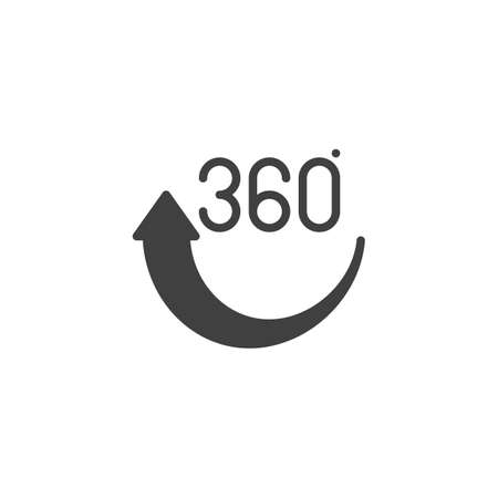 360 rotation arrow vector icon. Panoramic view filled flat sign for mobile concept and web design. 360 Degree View glyph icon. VR technology symbol, logo illustration. Vector graphics Illustration