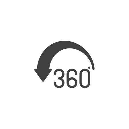 Angle 360 degree arrow vector icon. Panoramic view filled flat sign for mobile concept and web design. Full rotation sign glyph icon. VR technology symbol, logo illustration. Vector graphics