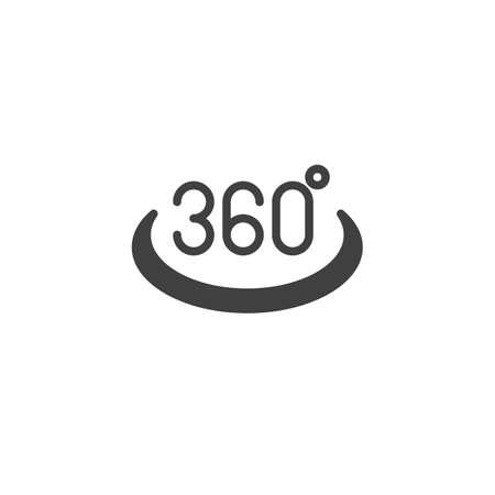 360 degrees view vector icon. Panoramic view filled flat sign for mobile concept and web design. Full rotation sign glyph icon. VR technology symbol, logo illustration. Vector graphics