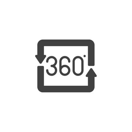 360 degrees square arrow vector icon. Panoramic view filled flat sign for mobile concept and web design. Full rotation sign glyph icon. VR technology symbol, logo illustration. Vector graphics