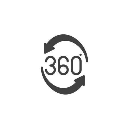Rotate 360 degrees arrow vector icon. Panoramic view filled flat sign for mobile concept and web design. Full rotation sign glyph icon. VR technology symbol, logo illustration. Vector graphics