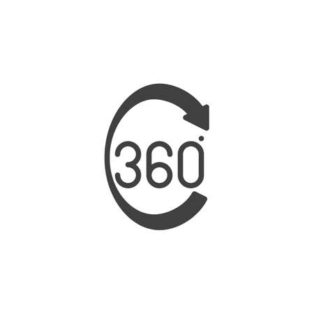 360 degrees arrow vector icon. Panoramic view filled flat sign for mobile concept and web design. Full rotation sign glyph icon. VR technology symbol, logo illustration. Vector graphics