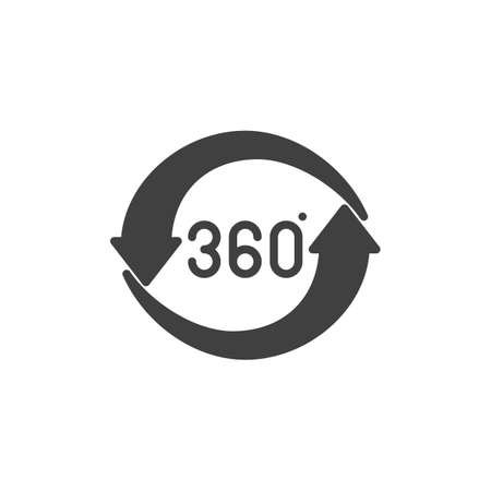 360 rotation sign vector icon. Panoramic view filled flat sign for mobile concept and web design. 360 degrees arrows glyph icon. VR technology symbol, logo illustration. Vector graphics