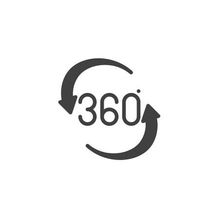 360 rotation sign vector icon. Panoramic view filled flat sign for mobile concept and web design. Full rotation sign glyph icon. VR technology symbol, logo illustration. Vector graphics
