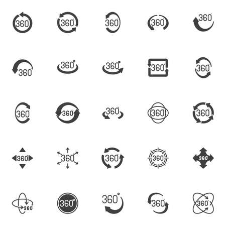 360 degree view vector icons set, modern solid symbol collection, filled style pictogram pack. Signs, logo illustration. Set includes icons as panoramic view, rotation 360 degrees arrow, VR technology