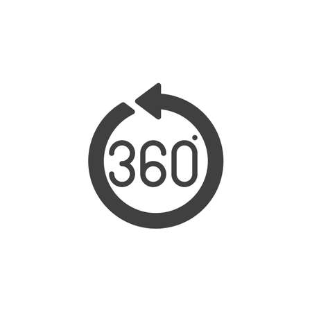 360 degrees arrow vector icon. Panoramic view filled flat sign for mobile concept and web design. Full rotation sign glyph icon. VR technology symbol, logo illustration. Vector graphics Stock Vector - 133299623