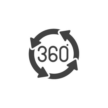 360 degrees rotation arrows vector icon. Panoramic view filled flat sign for mobile concept and web design. Full rotation sign glyph icon. VR technology symbol, logo illustration. Vector graphics