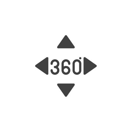 360 degrees controller buttons vector icon. Panoramic view filled flat sign for mobile concept and web design. Full rotation sign glyph icon. VR technology symbol, logo illustration. Vector graphics