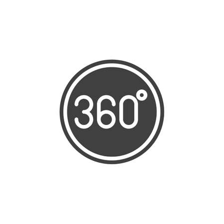 360 degrees button vector icon. Panoramic view filled flat sign for mobile concept and web design. Full rotation sign glyph icon. VR technology symbol, logo illustration. Vector graphics Illustration