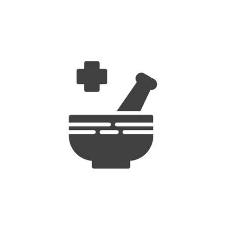 Mortar and pestle vector icon. filled flat sign for mobile concept and web design. Pharmaceutical medicine glyph icon. Symbol, logo illustration. Vector graphics  イラスト・ベクター素材