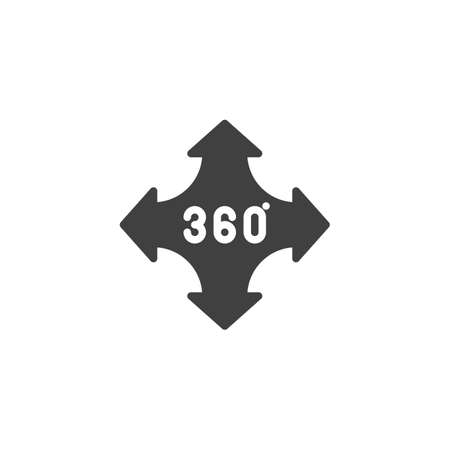 360 degrees control arrow vector icon. Panoramic view filled flat sign for mobile concept and web design. Full rotation sign glyph icon. VR technology symbol, logo illustration. Vector graphics Stock Vector - 133293842