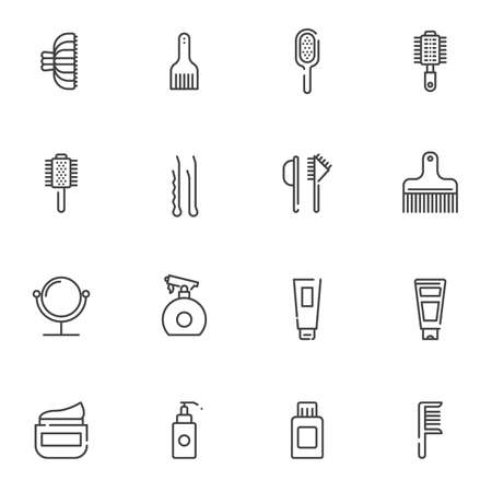 Hairdressing salon line icons set. linear style symbols collection outline signs pack. vector graphics. Set includes icons as makeup mirror,comb, mascara brush, cream tube, spray bottle, hairpin Illusztráció