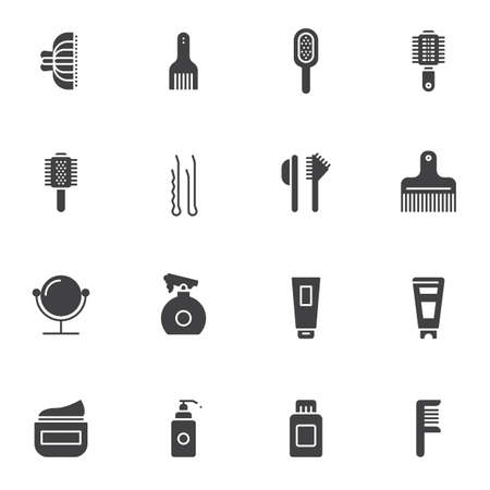 Hairdressing salon vector icons set, modern solid symbol collection, filled style pictogram pack. Signs, logo illustration. Set includes icons as makeup mirror,comb, mascara brush, cream tube, hairpin