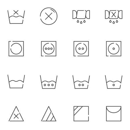 Washing machine instruction line icons set. Laundry linear style symbols collection, outline signs pack. vector graphics. Set includes icons as hot water temperature, dry wash, spin laundry, hand wash