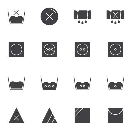 Washing machine instruction vector icons set, Laundry modern solid symbol collection, filled style pictogram pack. Signs, logo illustration. Set includes icons as hot water temperature, dry wash