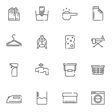 Laundry line icons set. linear style symbols collection, outline signs pack. vector graphics. Set includes icons as rubber gloves, detergent bottle, ironing, water tap, bucket, washing machine, soap