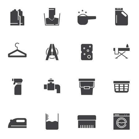 Laundry vector icons set, modern solid symbol collection, filled style pictogram pack. Signs, logo illustration. Set includes icons as rubber gloves, detergent bottle, ironing, bucket, washing machine Ilustracja