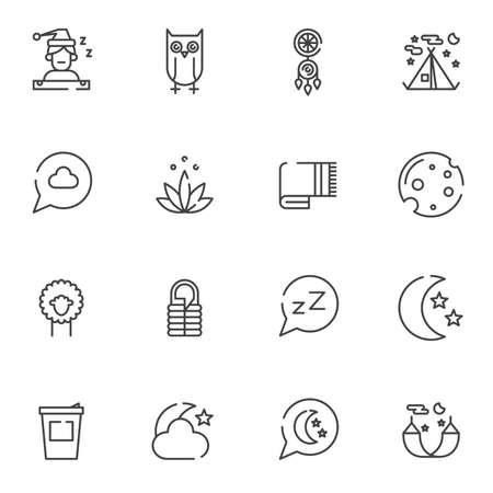 Sleep line icons set. linear style symbols collection, outline signs pack. vector graphics. Set includes icons as dream catcher, moon with stars, hammock, sleeping bag, owl, camping tent, dream