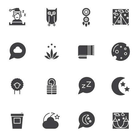 Sleep vector icons set, modern solid symbol collection, filled style pictogram pack. Signs, logo illustration. Set includes icons as dream catcher, moon with stars, hammock, sleeping bag, owl, dream