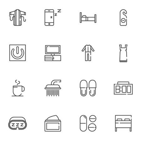 Bedtime line icons set. linear style symbols collection, outline signs pack. vector graphics. Set includes icons as sleepwear pajamas, alarm clock, bed, sleeping pills, shower, slippers, phone sleep