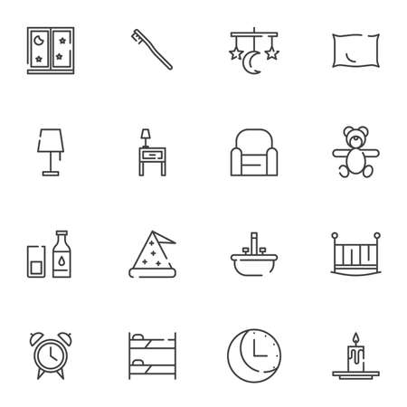 Sleep, bedtime line icons set. linear style symbols collection, outline signs pack. vector graphics. Set includes icons as Crib, armchair, night lamp, sleeping hat, pillow, dream catcher, candle, bed