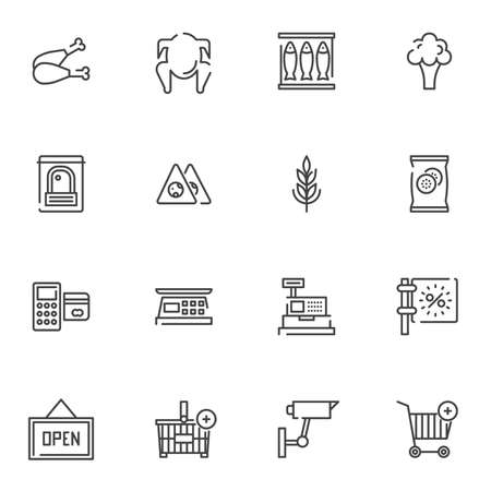 Grocery store line icons set. linear style symbols collection, outline signs pack. vector graphics. Set includes icons as chicken leg, fish tray, broccoli, cash register, payment card, shopping basket