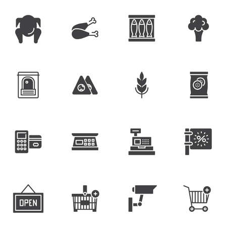 Grocery store vector icons set, modern solid symbol collection, filled style pictogram pack. Signs, logo illustration. Set includes icons as chicken leg, fish, broccoli, cash register, shopping basket