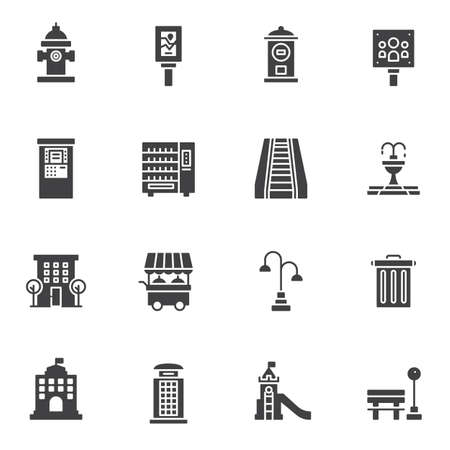 Urban Infrastructure vector icons set, modern solid symbol collection, filled style pictogram pack. Signs, logo illustration. Set includes icons as city buildings, public park, billboard, fire hydrant Illustration