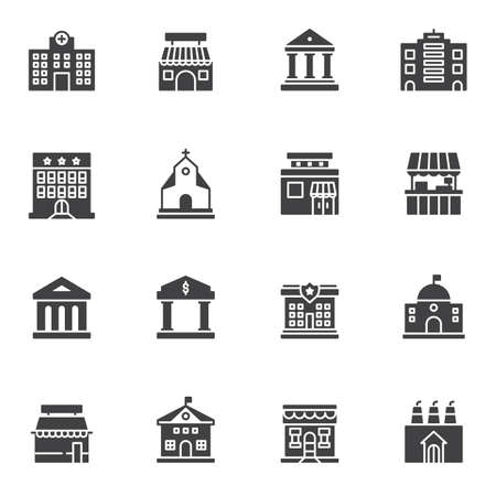City buildings vector icons set, modern solid symbol collection, filled style pictogram pack. Signs logo illustration. Set includes icons as urban infrastructure, hospital, storefront, library, hotel