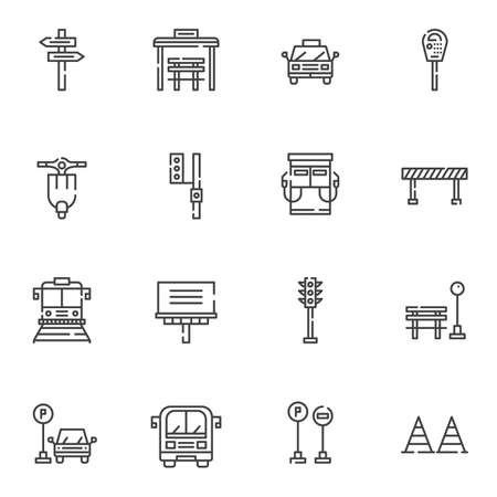 Urban transportation line icons set. linear style symbols collection outline signs pack. vector graphics. Set includes icons as taxi car, traffic light, parking meter, gas station, bus, tram, bus stop