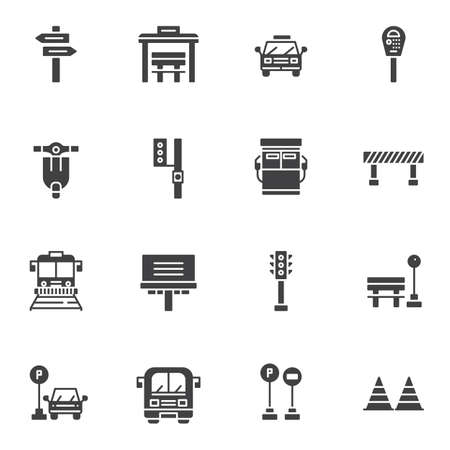 Urban transportation vector icons set, modern solid symbol collection, filled style pictogram pack. Signs, logo illustration. Set includes icons as taxi car, traffic light, parking meter, gas station, bus, tram, bus stop