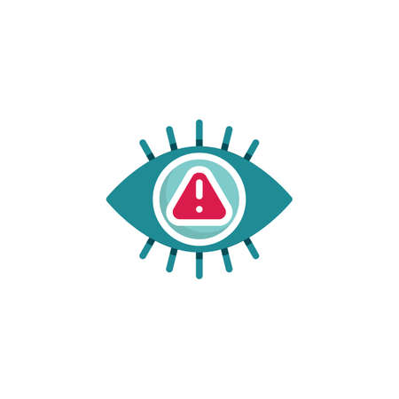 Caution, monitoring eye flat icon, vector sign, Virus security scan eye colorful pictogram isolated on white. Symbol, logo illustration. Flat style design