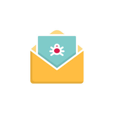 Infected spam email flat icon, vector sign, Envelope mail with virus letter colorful pictogram isolated on white. Symbol, logo illustration. Flat style design