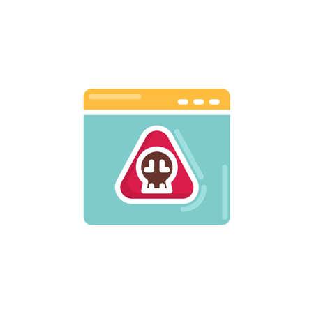 Hacking website flat icon, vector sign, Website virus page colorful pictogram isolated on white. Symbol, logo illustration. Flat style design