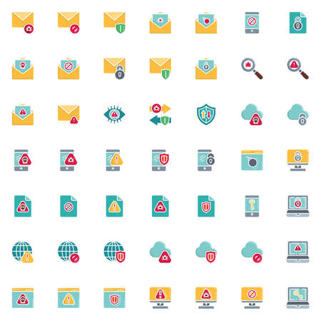 Data protection elements collection, Cyber security flat icons set Colorful symbols pack contains Spam mail, Email security, Virus scan, Hacking attack, shield. Vector illustration. Flat style design