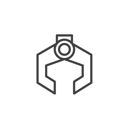 Robotic arm line icon. linear style sign for mobile concept and web design. Industrial robot outline vector icon. Symbol, logo illustration. Vector graphics