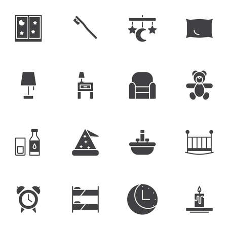 Sleep, bedtime vector icons set, modern solid symbol collection, filled style pictogram pack. Signs, logo illustration. Set includes icons as armchair, night lamp, sleeping hat, pillow, dream catcher